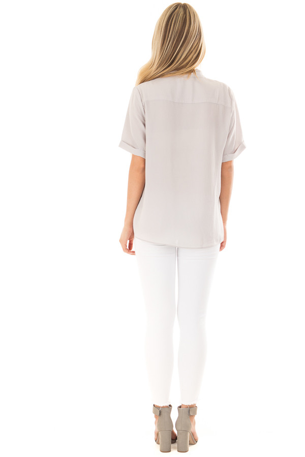 Light Grey Crossover Drape Blouse with Cuffed Short Sleeves back full body