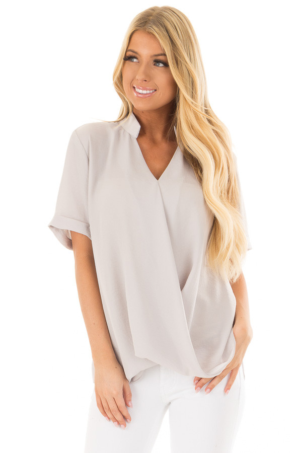Light Grey Crossover Drape Blouse with Cuffed Short Sleeves front close up