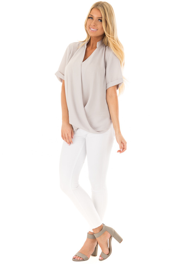 Light Grey Crossover Drape Blouse with Cuffed Short Sleeves front full body