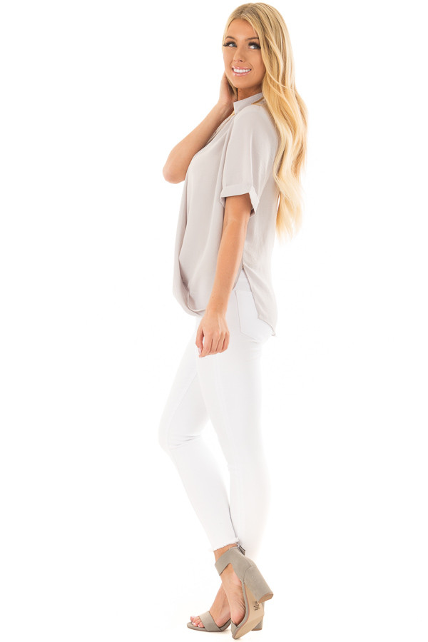 Light Grey Crossover Drape Blouse with Cuffed Short Sleeves side full body