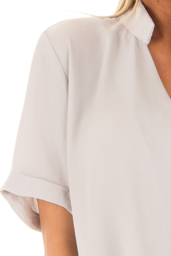 Light Grey Crossover Drape Blouse with Cuffed Short Sleeves detail