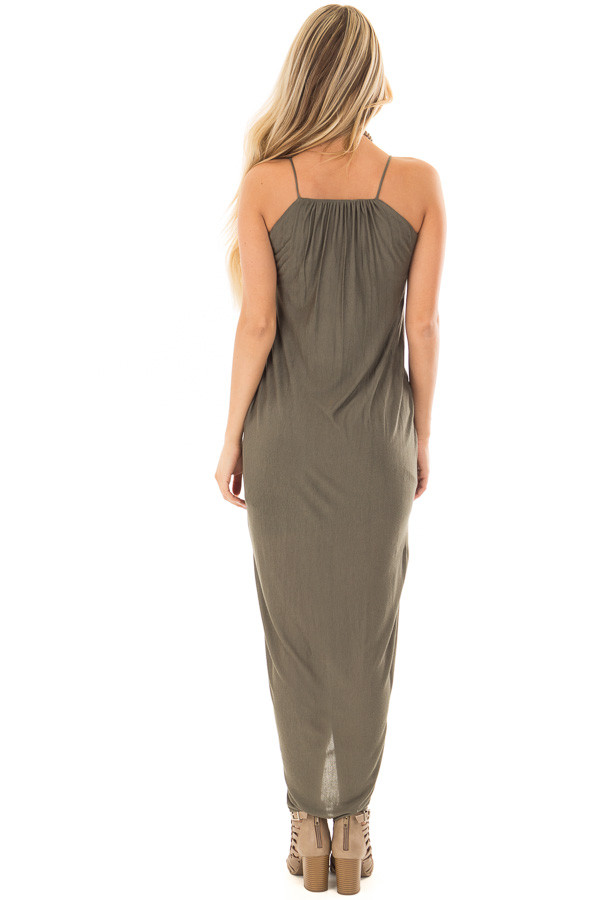 Olive Wrap High Low Midi Dress back full body
