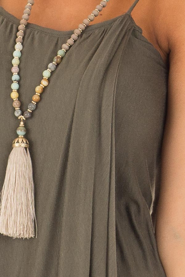 Olive Wrap High Low Midi Dress detail