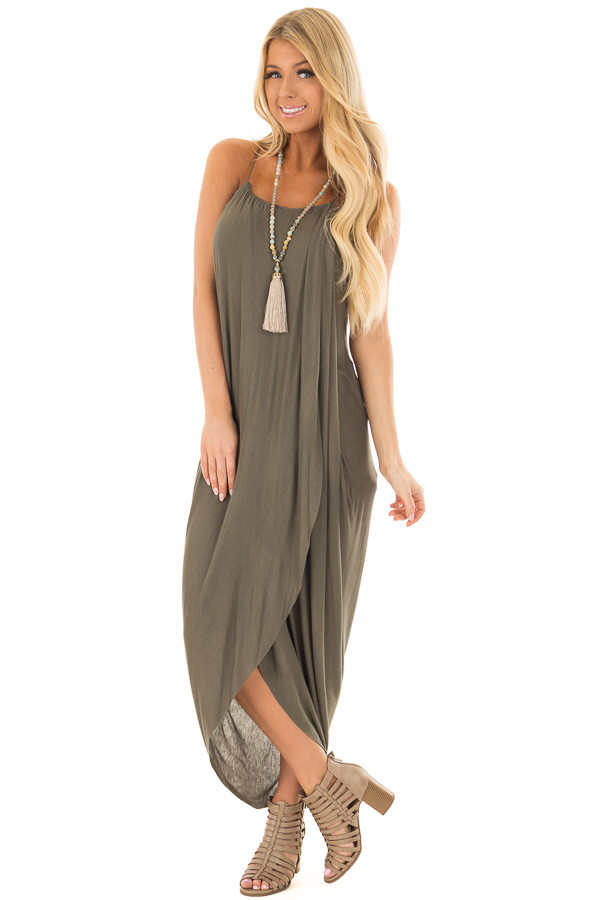 Olive Wrap High Low Midi Dress front full body