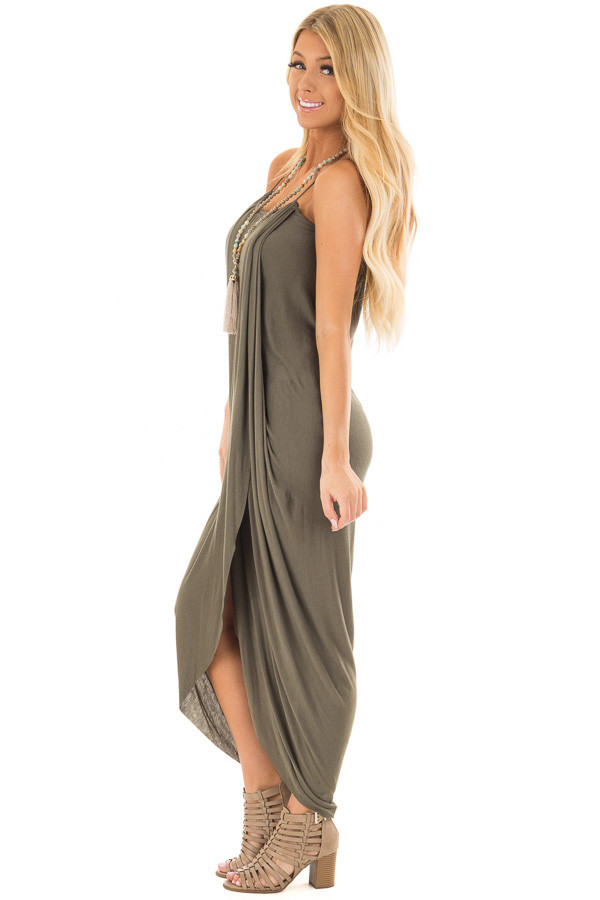 Olive Wrap High Low Midi Dress side full body