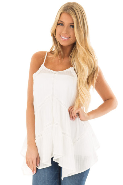 Off White Crochet Detailed Side Flare Tank Top front close up