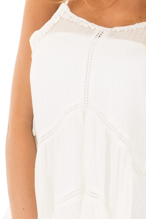 Off White Crochet Detailed Side Flare Tank Top detail