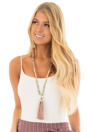Mauve Tassel Necklace with Jade and Wooden Beads