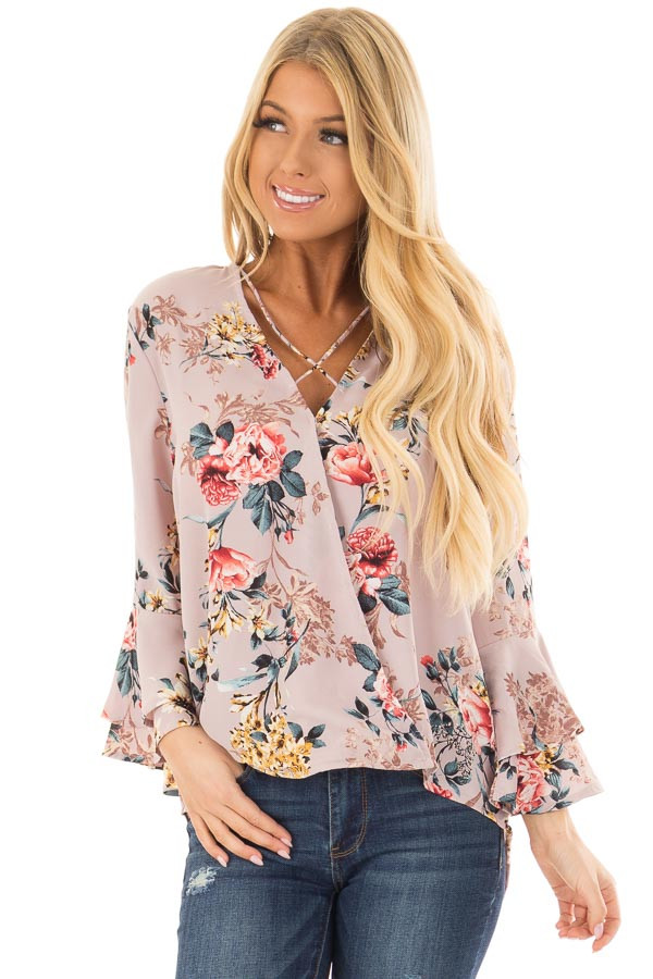 Misty Rose Floral Print Surplice Top with Bell Sleeves front close up