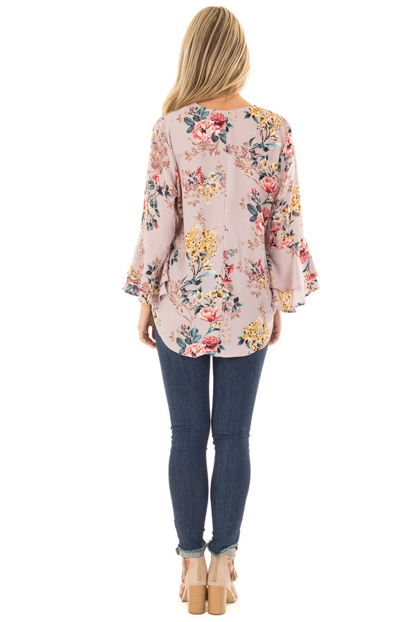 Misty Rose Floral Print Surplice Top with Bell Sleeves back full body