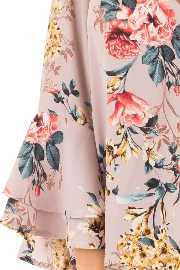 Misty Rose Floral Print Surplice Top with Bell Sleeves detail