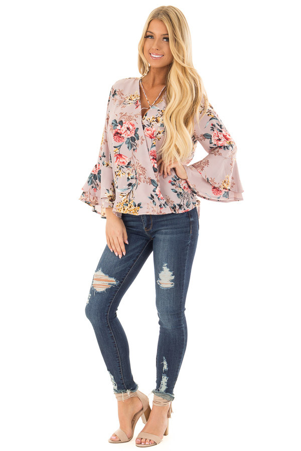 Misty Rose Floral Print Surplice Top with Bell Sleeves front full body
