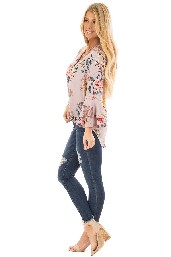 Misty Rose Floral Print Surplice Top with Bell Sleeves side full body