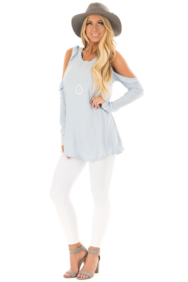 Sky Blue Ribbed Knit Cold Shoulder Long Sleeve Top front full body