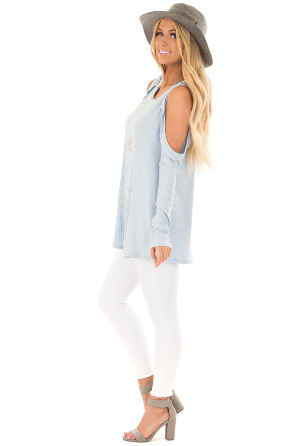 Sky Blue Ribbed Knit Cold Shoulder Long Sleeve Top side full body
