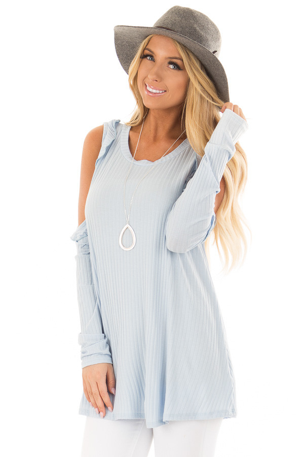 Sky Blue Ribbed Knit Cold Shoulder Long Sleeve Top front close up