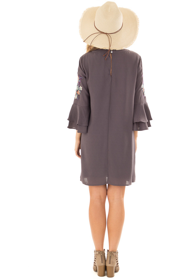 Charcoal Dress with Embroidery Detail and Chest Cutout back full body