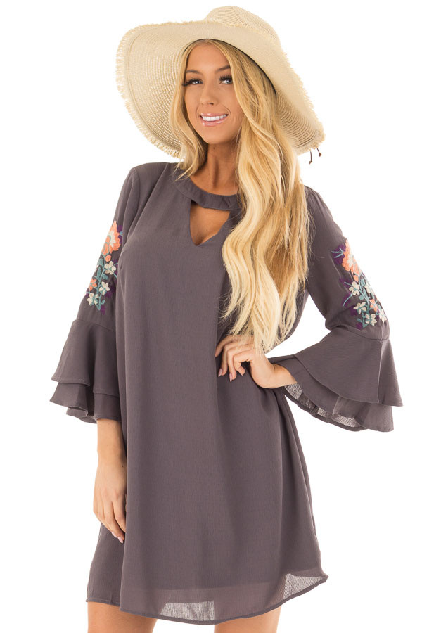 Charcoal Dress with Embroidery Detail and Chest Cutout front closeup