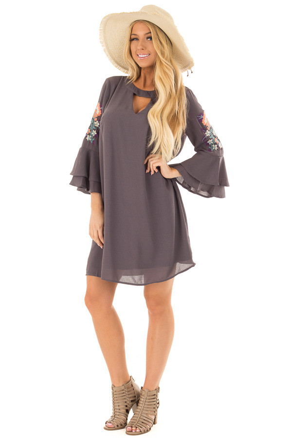 Charcoal Dress with Embroidery Detail and Chest Cutout front full body