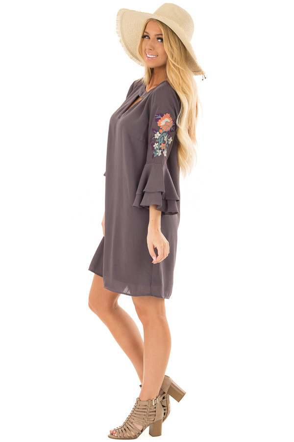 Charcoal Dress with Embroidery Detail and Chest Cutout side full body