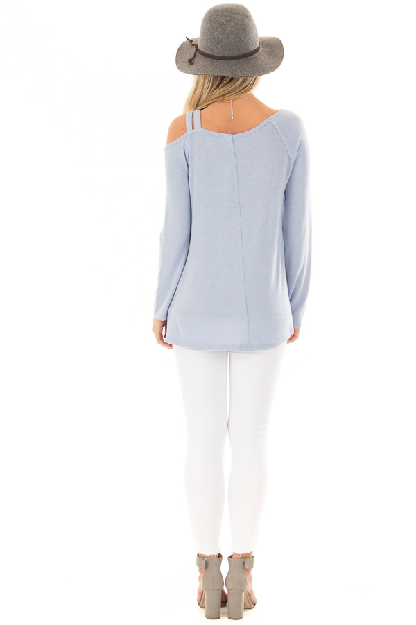 Sky Blue Long Sleeve Top with Double Strap Cold Shoulder back full body