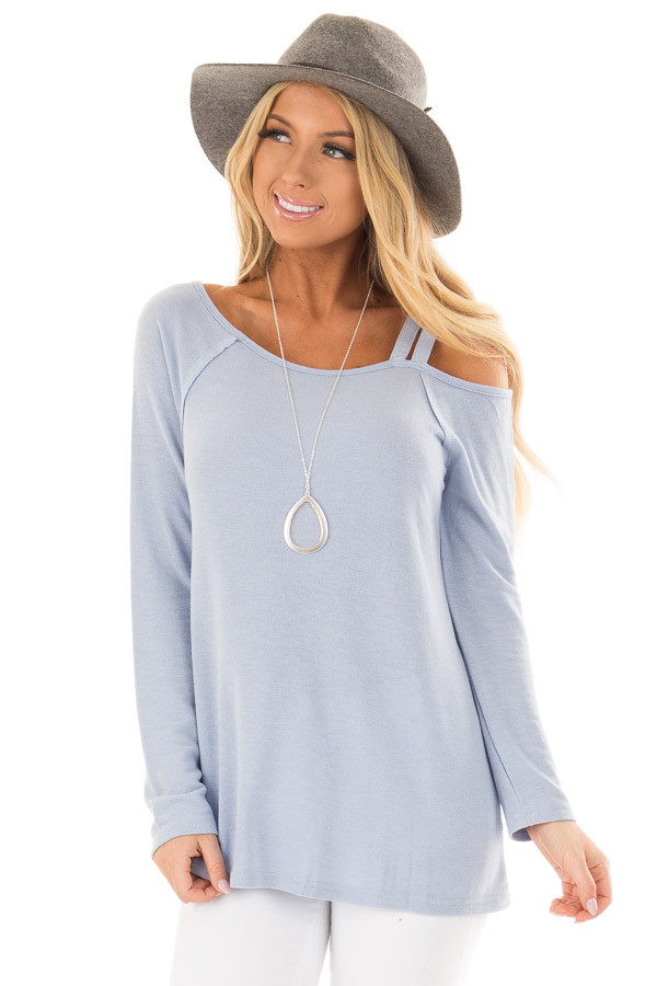 Sky Blue Long Sleeve Top with Double Strap Cold Shoulder front closeup