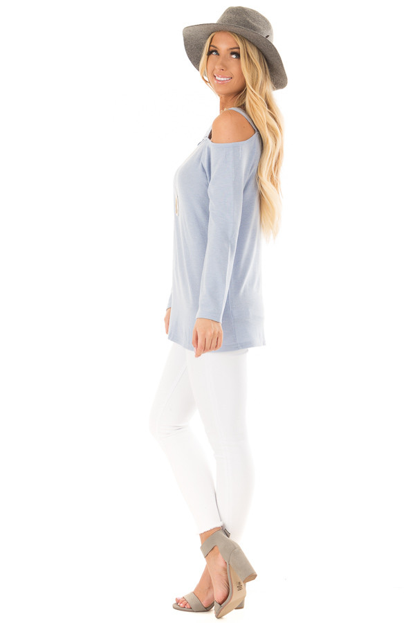 Sky Blue Long Sleeve Top with Double Strap Cold Shoulder side full body