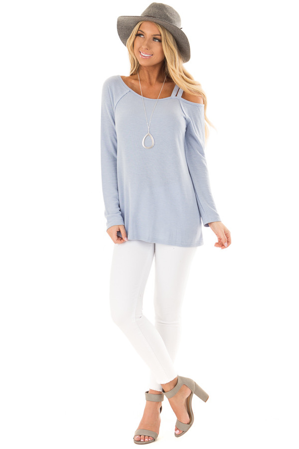 Sky Blue Long Sleeve Top with Double Strap Cold Shoulder front full body