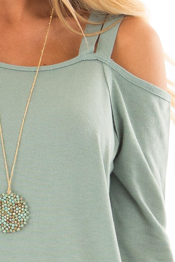 Slate Green Long Sleeve Top with Double Strap Cold Shoulder front detail