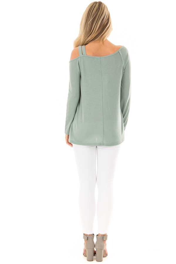 Slate Green Long Sleeve Top with Double Strap Cold Shoulder back full body
