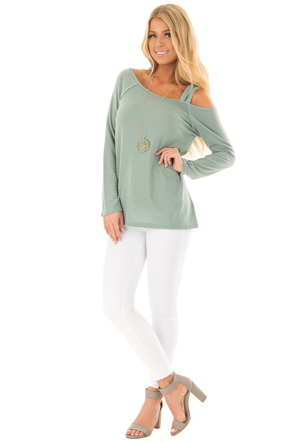 Slate Green Long Sleeve Top with Double Strap Cold Shoulder front full body