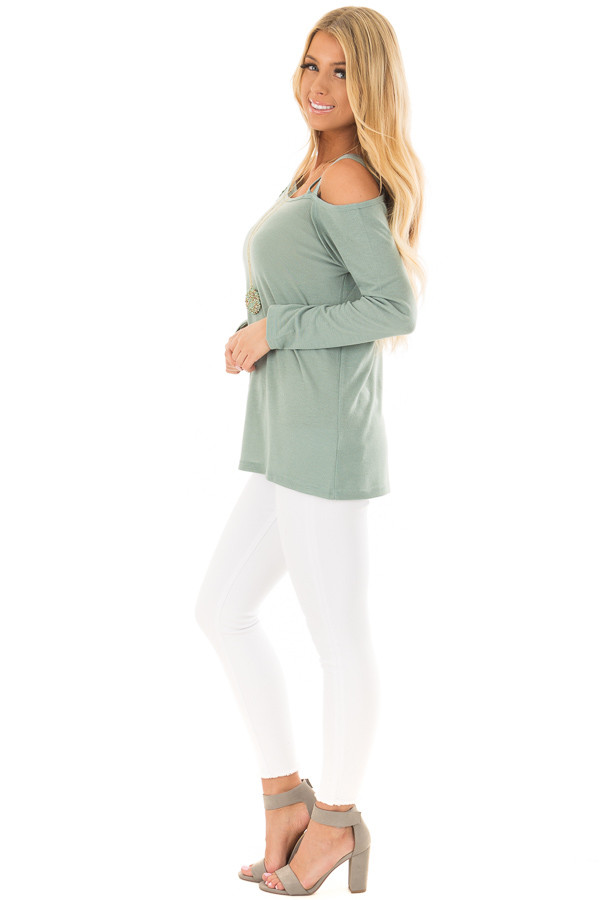 Slate Green Long Sleeve Top with Double Strap Cold Shoulder side full body