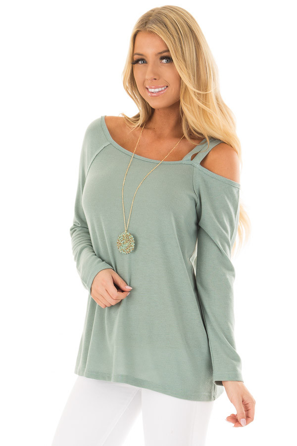 Slate Green Long Sleeve Top with Double Strap Cold Shoulder front closeup