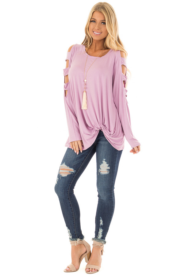 Lavender Twist Front Top with Ladder Cut Sleeves front full body