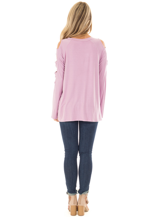 Lavender Twist Front Top with Ladder Cut Sleeves back full body
