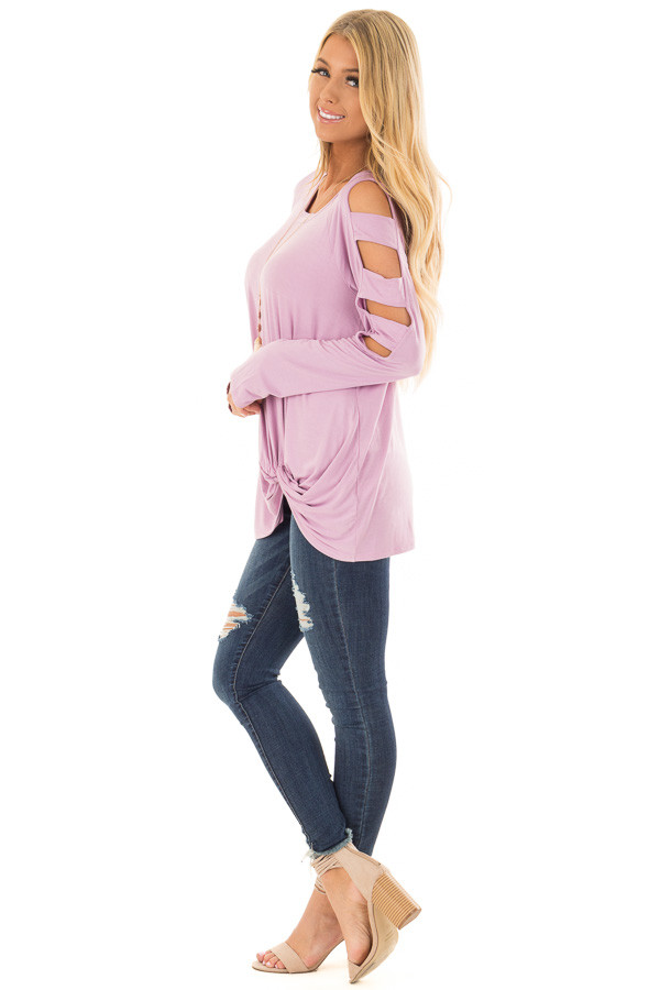 Lavender Twist Front Top with Ladder Cut Sleeves side full body