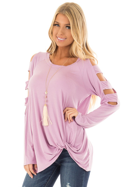 Lavender Twist Front Top with Ladder Cut Sleeves front closeup