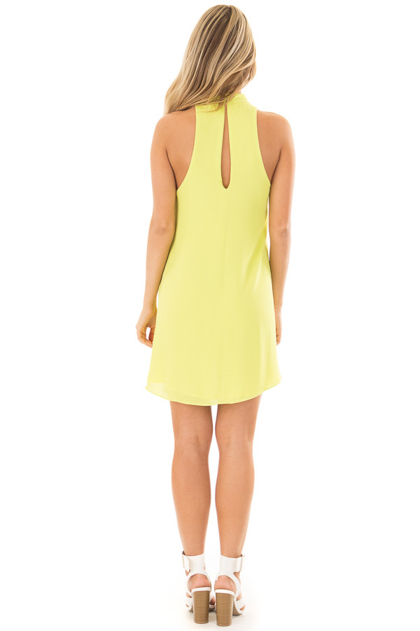Neon Lime Choker Tank Dress with a Keyhole Front and Back back full body