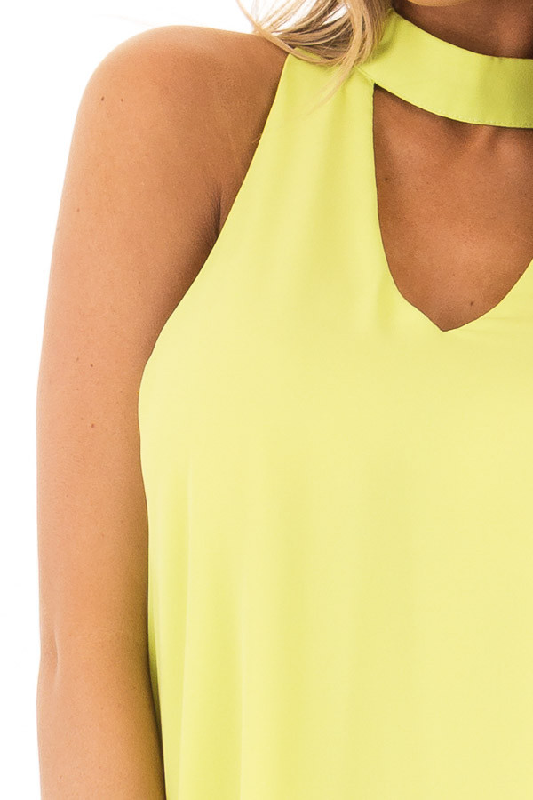 Neon Lime Choker Tank Dress with a Keyhole Front and Back front detail