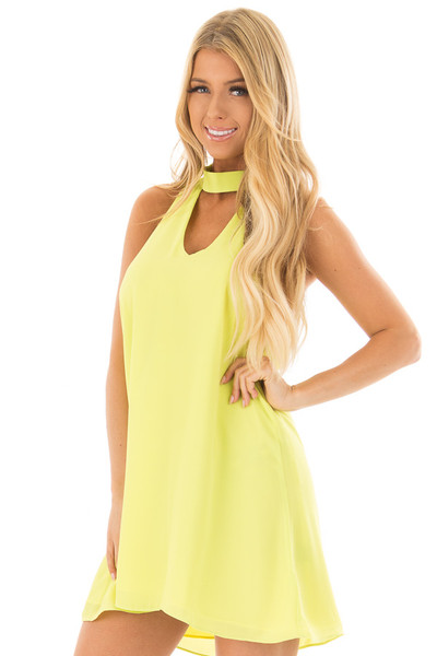 Neon Lime Choker Tank Dress with a Keyhole Front and Back front closeup