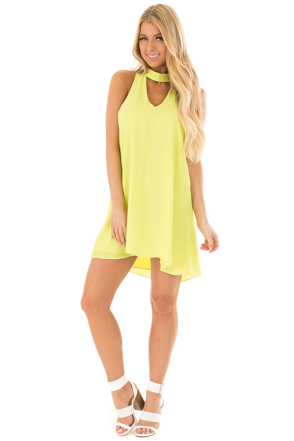 Neon Lime Choker Tank Dress with a Keyhole Front and Back front full body