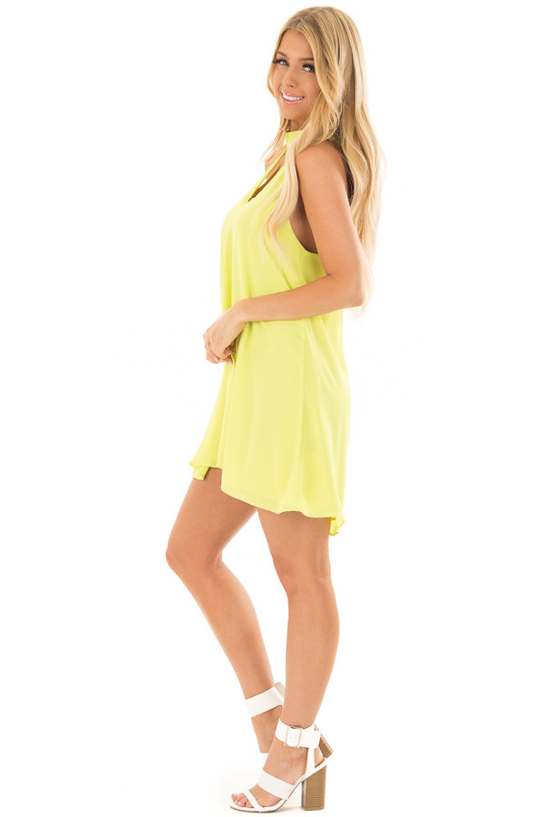 Neon Lime Choker Tank Dress with a Keyhole Front and Back side full body