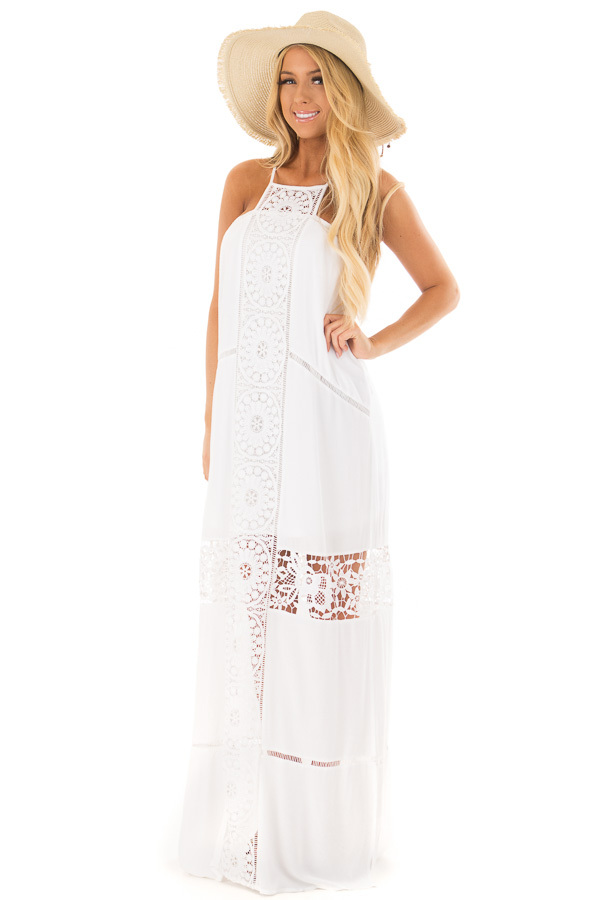 White Maxi Dress with Sheer Crochet Details front full body