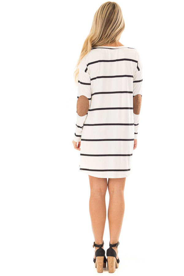 Ivory and Black Striped Tunic with Faux Suede Elbow Patches back full body