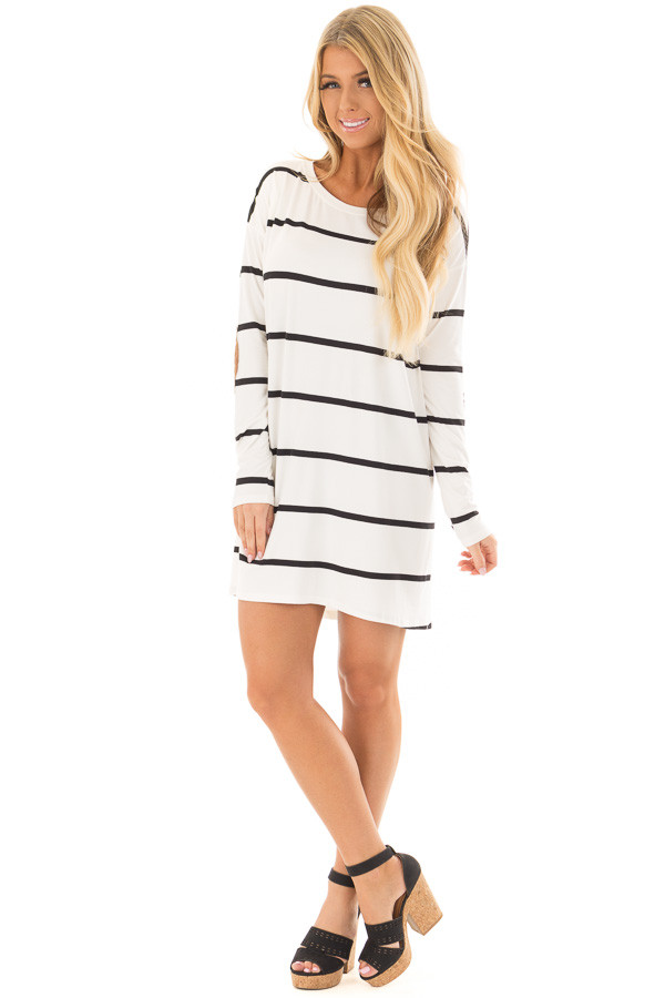 Ivory and Black Striped Tunic with Faux Suede Elbow Patches front full body