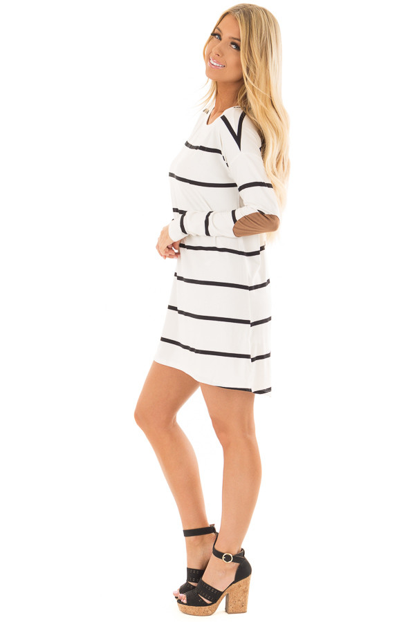 Ivory and Black Striped Tunic with Faux Suede Elbow Patches side full body