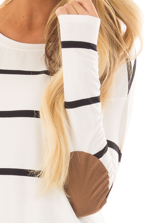 Ivory and Black Striped Tunic with Faux Suede Elbow Patches front detail