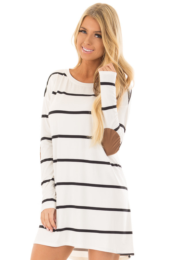 Ivory and Black Striped Tunic with Faux Suede Elbow Patches front closeup