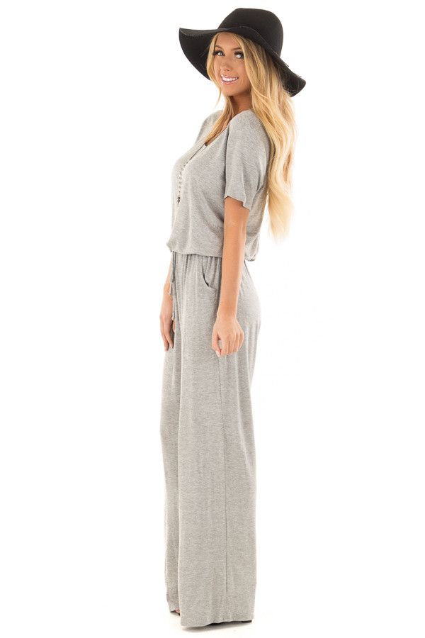 Heather Grey Short Sleeve Jumpsuit with Waist Drawstring side full body