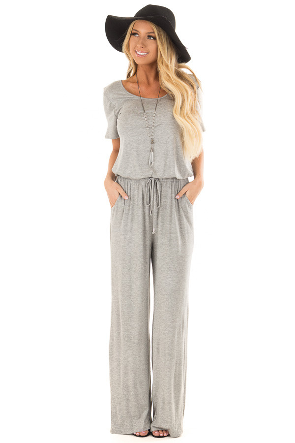 Heather Grey Short Sleeve Jumpsuit with Waist Drawstring front full body